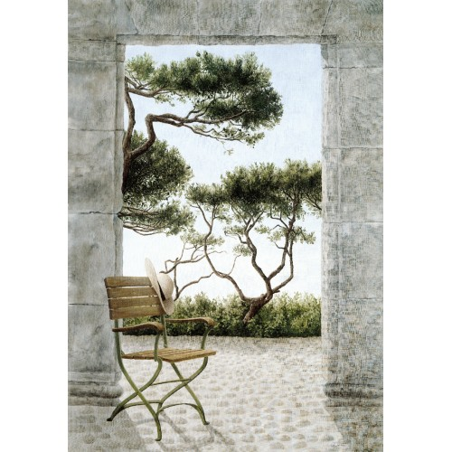 Wall hangings with a pine tree and chair pattern