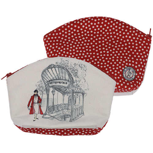 Pochette maquillage motif pois rouges