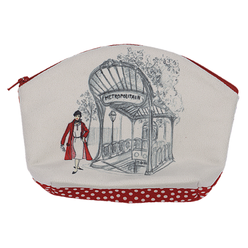 makeup bag with its red spots pattern