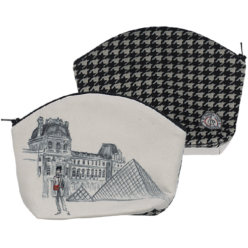 makeup bag with its houndstooth pattern