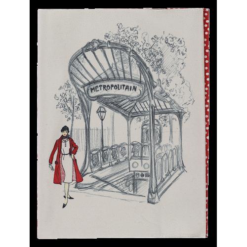 Protège cahier motif pois rouges face avant