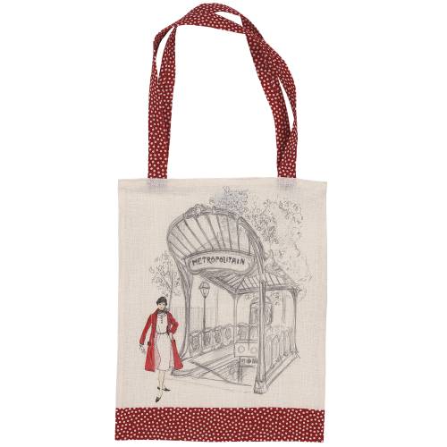 Sac shopping motif pois rouges face avant